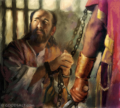 Apostle Paul being guarded in jail