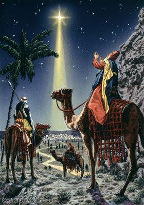 Matthew 2 Wise Men Following A Shining Star To Jesus