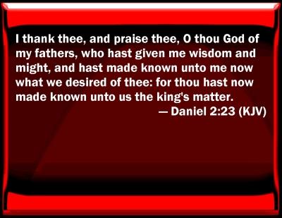 Bible Verse Powerpoint Slides For Daniel 2 23