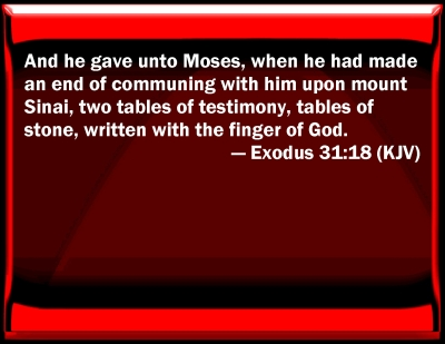 Bible Verse Powerpoint Slides For Exodus 31 18
