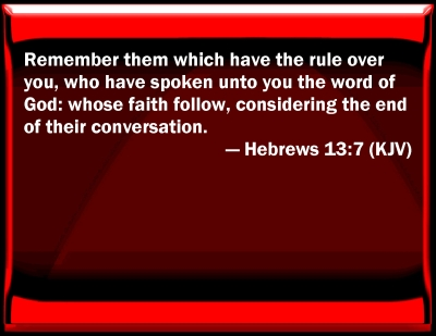 Bible Verse Powerpoint Slides for Hebrews 13:7