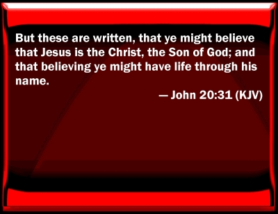 Bible Verse Powerpoint Slides For John 20 31