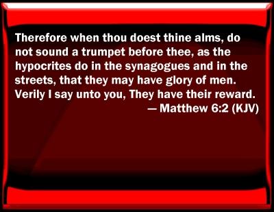 Bible Verse Powerpoint Slides for Matthew 6:2