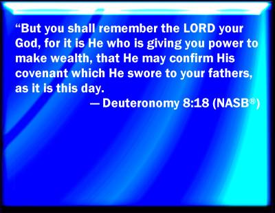 Bible Verse Powerpoint Slides For Deuteronomy 8 18