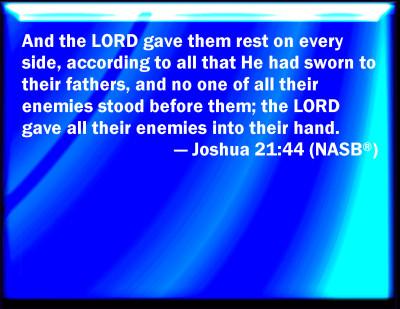 Bible Verse Powerpoint Slides For Joshua 21 44