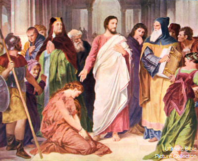 John 8 Bible Pictures: Jesus with the woman caught in adultery