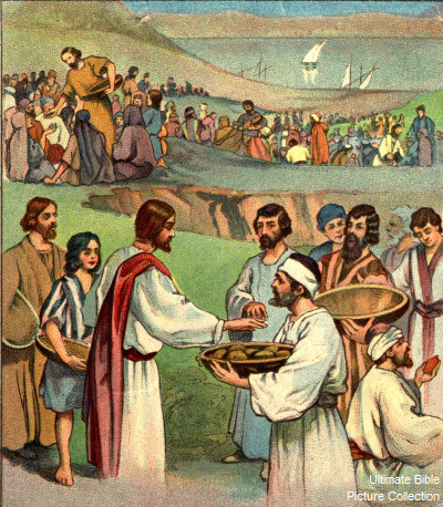 Luke 9 Bible Pictures: Jesus feeding the 5000 people