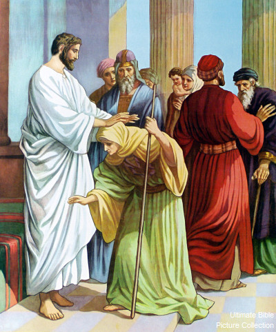 luke 13 bible pictures jesus healing the bowed woman