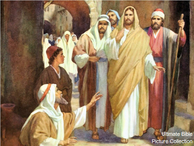 John 9 Bible Pictures: Jesus heals blind man