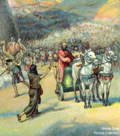 Chronicles 14 Bible Pictures: King Asa with his army