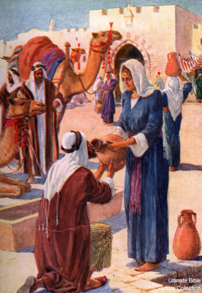 Genesis 24 Bible Pictures Rebekah Gives The Servant A Drink