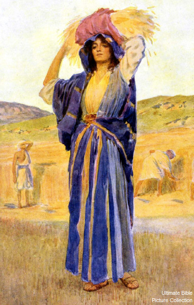 Ruth 2 Bible Pictures: Ruth With Wheat Gleaned From Field