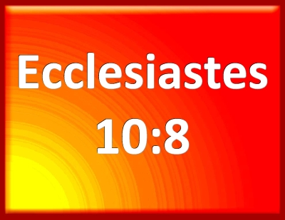 Image result for Ecclesiastes 10:8